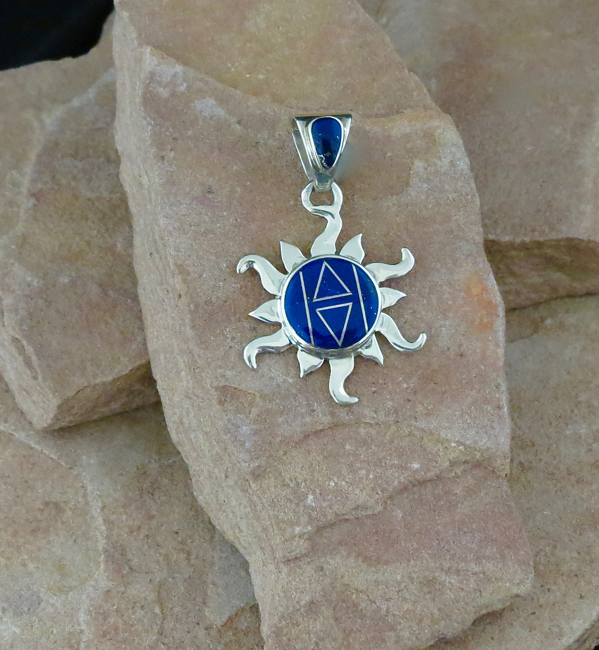 wrapped pendant sterling pin silver necklace lapis wire lazuli