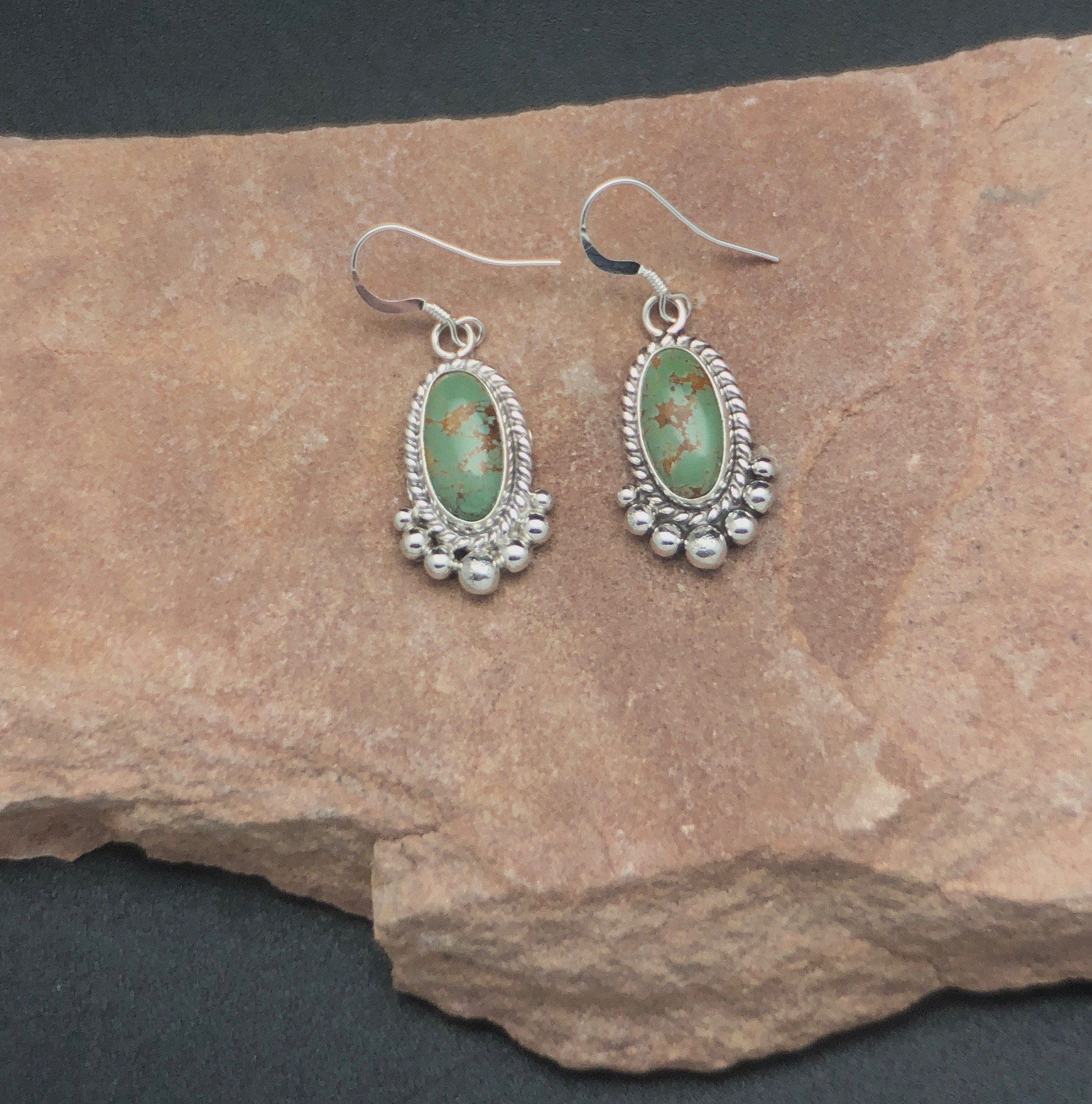 Sterling Silver Chinese Turquoise Earrings From Our Collection Of Native American Navajo Handmade Jewelry