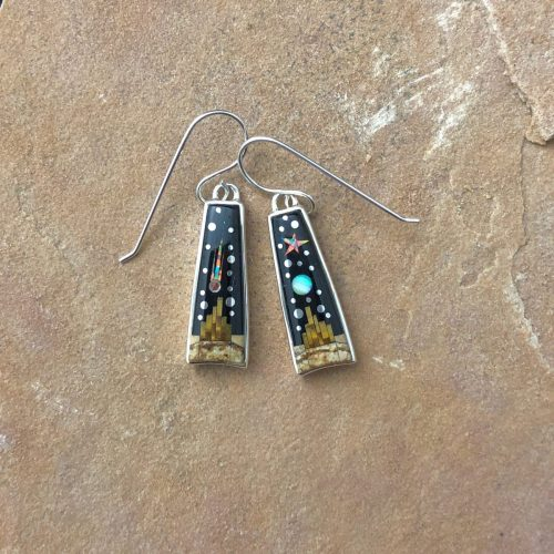 Fred Begay Long pueblo dangle earrings
