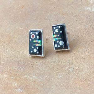 Fred Begay Night Sky rectangular earrings
