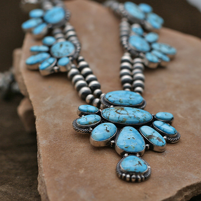 high grade kingman turquoise necklace set