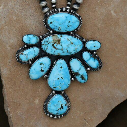 kingman turquoise necklace set